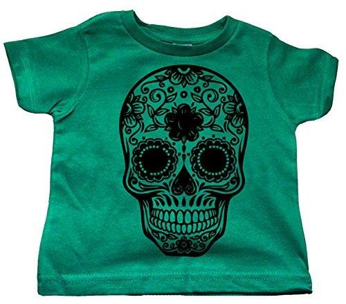 Custom Kingdom Little Boys Mexican Sugar Skull T-Shirt (18 Months, Green)
