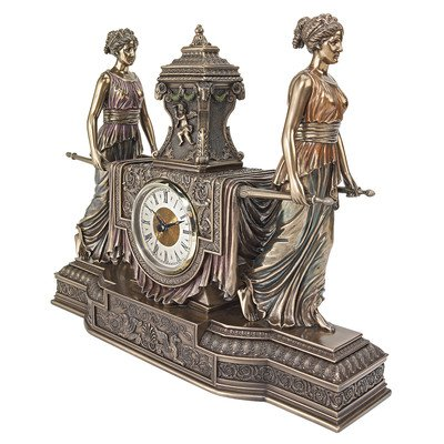 Design Toscano Versailles Maidens Mantel Clock Statue, 14 Inch, Polyresin, Bronze Finish - Toscana Gold Finish