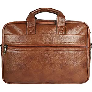 Thames by Lioncrown Faux Leather 14 inches Laptop Messenger Bag / Office Laptop Briefcase (Tan)