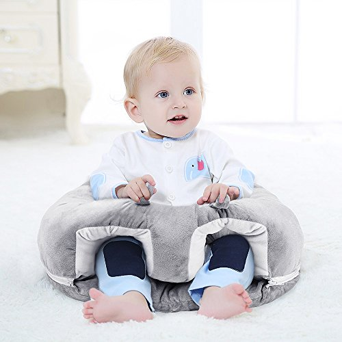 Baby Chair For Sitting Up - Plush and Soft Infant and Babies Floor Seat - Toddler Support Seats - Teaches Infants How To Sit Up Independently - 100% Cotton, Grey, Easy-To-Clean Cushion by Tippy Tots (Chairs Sitting)