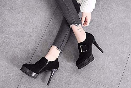 KPHY Platforms Spring Shoes Joker Thirty Shoes Heeled Frosted Autumn Black Buckles Waterproof And Women'S Thin High Deep Shoes Shoes 12Cm And In Eight rrqPC
