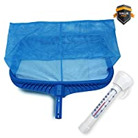 Stargoods Pool Skimmer - Heavy Duty Cleaner Tool & Net Bag Leaf Cleaning & Floating Thermometer Pack