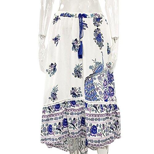 Occasionnelle Tribal Dames Bleu Dress Maxi Floral Jupe Longue conqueror Boho Jupe Beach Femmes Summer qfwnUP