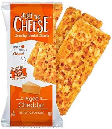 Just The Cheese crujiente al Horno Bajas en carbohidratos Snack Bars. 100% Queso Natural. Alta en proteínas y sin Gluten (Edad Cheddar, 10 Two-Bar ...