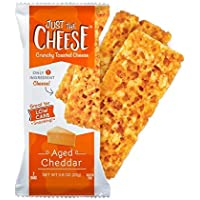 Just the Cheese Bars, Crunchy Baked Low Carb Snack Bars. 100% Natural Cheese. High Protein and Gluten Free (Aged Cheddar)