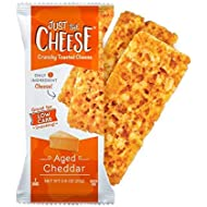 Just the Cheese Bars, Crunchy Baked Low Carb Snack Bars. 100% Natural Cheese. High Protein and Gluten Free (Aged Cheddar, 10 Two-Bar Packs)