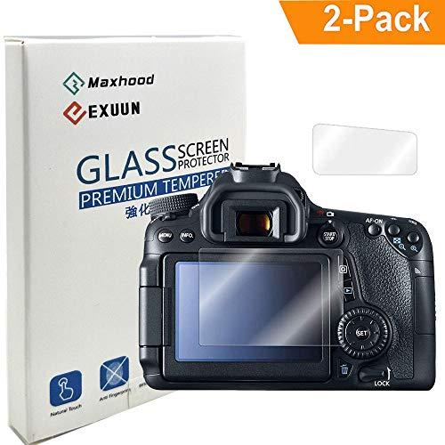 Exuun (2-Pack) Tempered Glass Screen Protector for Canon EOS 80D / 70D, Anti-Scratch Anti-Fingerprint 9H Hardness 0.3mm Ultra Thin Tempered Glass (For Canon EOS 80D / 70D)