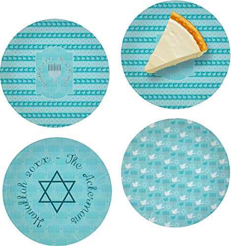 Hanukkah Set of 4 Glass Appetizer/Dessert Plate 8