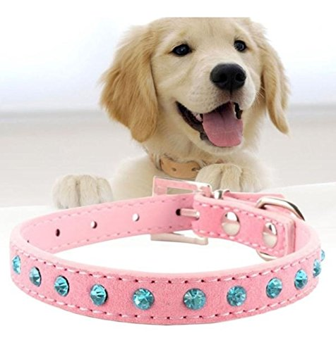 (1 Pack Pink Bling Crystal Rhinestones Leather Pet Dog Puppy Cat Collar Adjustable Buckle Necklaces Soft Elastic Bow Tag Prime Popular Small Extra Large Wide Safety Training Camo Kitten Dogs Collars)