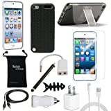 Apple iPod Touch 5th & iPod Touch 6th Generation Case - DigitalsOnDemand 12-Item Accessory Bundle for Apple iPod 5 & iPod 6 Gen - Slim Cover Case With Stand, USB Cables + Chargers, Screen Protector