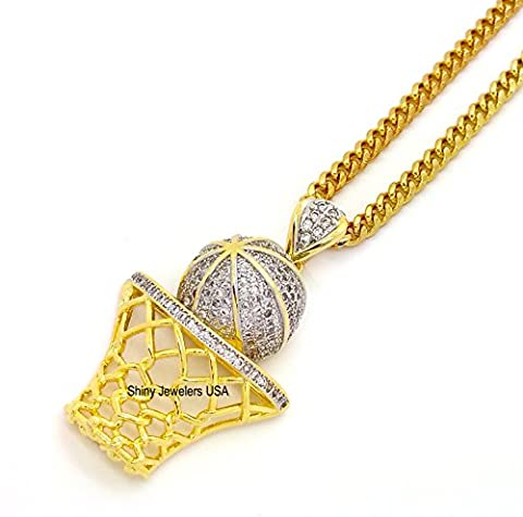 LUXURY ICED OUT 14K GOLD FINISH HIP HOP BASKETBALL PENDANT ROPE,CUBAN CHAIN NECKLACE (Cuban Chain) (Used 14k Gold Chain)