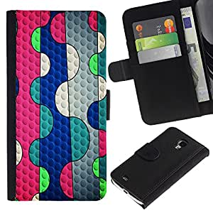 Planetar® Modelo colorido cuero carpeta tirón caso cubierta piel Holster Funda protección Para Samsung Galaxy S4 Mini i9190 (NOT S4) (NOT S4) ( Líneas abstracto rosado de la burbuja azul del trullo )