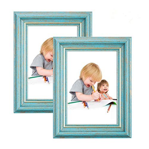 Photo Frame 8x10 Vintage Portrait Picture Frames 2 Pack Retro Landscape & Horizontal Poster Frame Standing or Wall Mountable, Birthday Gift for Parents Woman Wedding Anniversary 10x8 Inch Teal