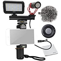 Movo Smartphone Video Kit V1 with Grip Rig, Shotgun Microphone, LED Light & Wireless Remote - for iPhone 5, 5C, 5S, 6, 6S, 7, 8, X (Regular and Plus), Samsung Galaxy, Note & More