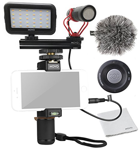 Movo Smartphone Video Kit V1 with Grip Rig, Shotgun Microphone, LED Light & Wireless Remote - for iPhone 5, 5C, 5S, 6, 6S, 7, 8, X, XS, XS Max, Samsung Galaxy, Note & More