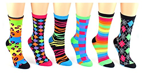 6 Pairs Novelty Design Crew Socks, Printed Fun Colorful Fancy Design (Assorted) ()