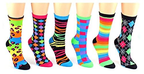 立即购买! 6 Pairs Novelty Design Crew Socks, Printed Fun Colorful Fancy