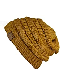 Trendy Warm Chunky Soft Stretch Cable Knit Beanie Skully, Mustard