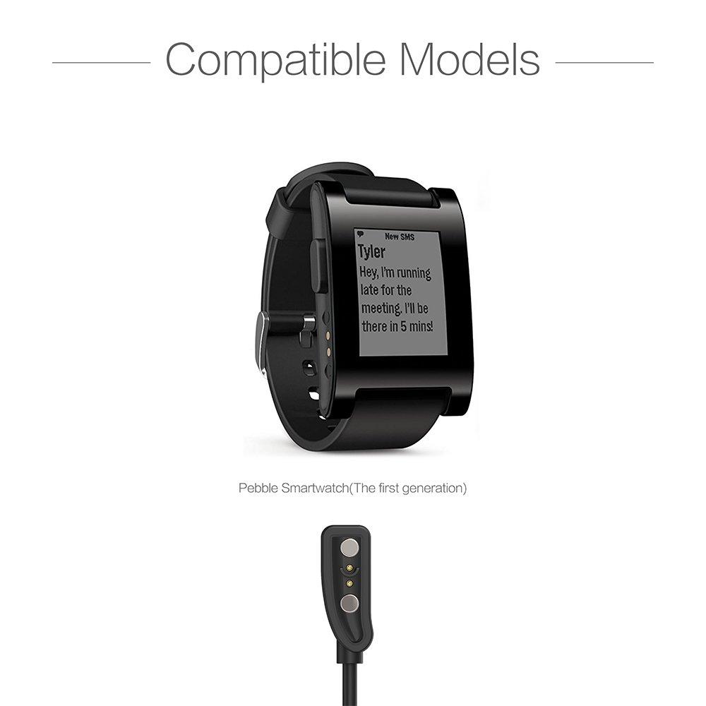 TUSITA Cargador para Pebble Reloj Inteligente - Cable de Carga USB 100cm Pinza de la Base - rastreador de Ejercicios Accesorios (1-Pack)