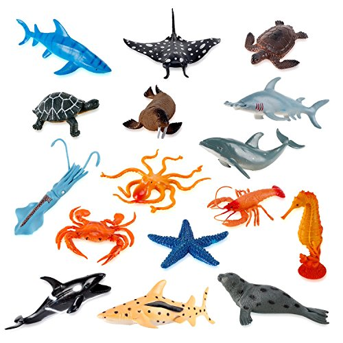 (Liberty Imports Large Deep Sea Animals - Ocean Underwater Creatures - Realistic Plastic Marine Toy Figures - Educational Toys for Toddlers, Kids (16 Piece Set))