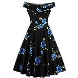 Women's Off Shoulder 1950s Vintage Dress Short Sleeve Homecoming Cocktail Dress Black-L