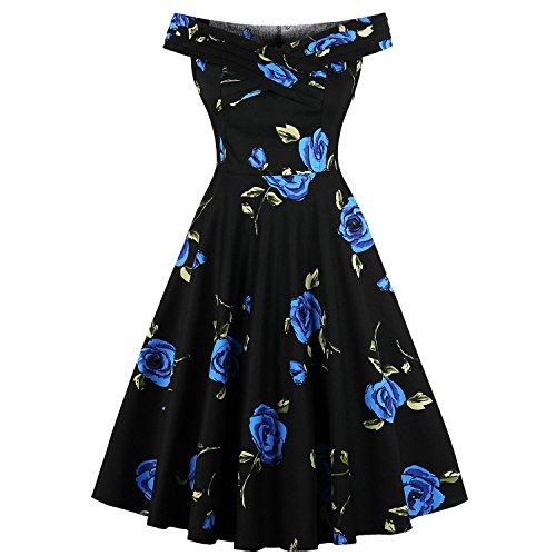 Women's Off Shoulder 1950s Vintage Dress Short Sleeve Homecoming Cocktail Dress Black-L by Pinup Fashion