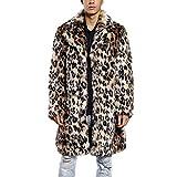 JTENGYAO Men's Faux Fur Coat Long Overcoat Lapel Leopard Outerwear Winter Jacket