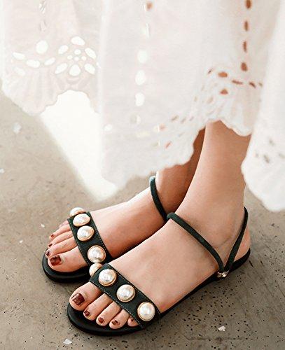 Sandales Vert Suède Femmes Confortables Plates Faux Perles Perles Faux Aisun Sandales Aisun Confortables Suède Femmes TAPxpqw7