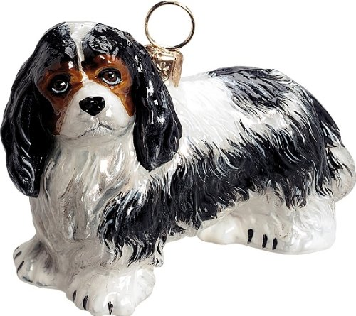 Joy to the World Collectibles European Blown Glass Pet Ornament, Cavalier King Charles (King Charles Ornament)