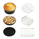 Etbotu 6PCS Home Air Fryer Set Kitchen Tool with Baking Basket Pizza Plate Bread Shelf Skewer Rack Pot Holder Pot Pad