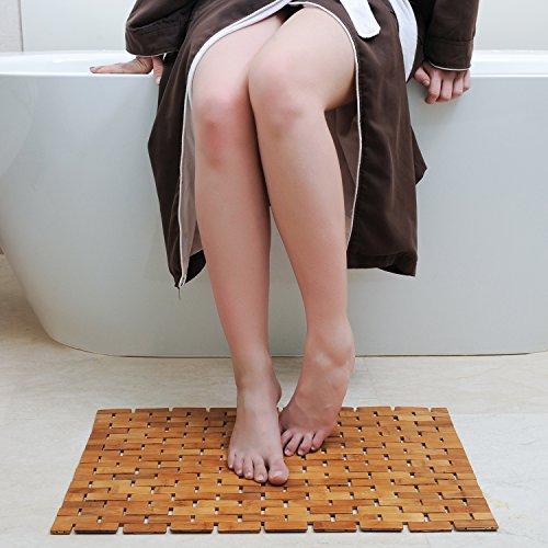 HANKEY Luxury Multipurpose Bamboo Bath Mat For Shower Spa Sauna with Non Slip Feet   Indoor Outdoor Use for Kitchen Bedroom Bathroom Toilet Doormat Pet Mat   70 x 50 cm (27.6 x 19.7) by HANKEY (Image #3)