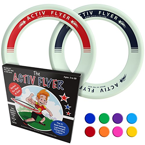 Activ Life Best Kid's Frisbees [Glow-in-The-Dark] 2 Pack - Cool Outdoor Toys for Healthy Children to Play Outside with Family & Friends - Fun Birthday Party Favors for Girls & Boys Back to School