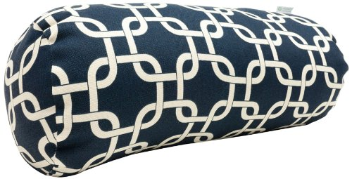 "Majestic Home Goods Navy Blue Links Indoor / Outdoor Round Bolster Pillow 18.5"" L x 8"" W x 8"" H - Outdoor Treated Polyester Fabric Filled with Super Loft recycled Polyester Fiber Fill Spot Clean with mild detergent - patio, outdoor-throw-pillows, outdoor-decor - 519rBLgKmgL -"