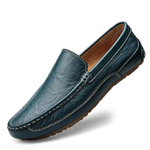 Vamp color Eu Zapatos Tamaño tip Penny Suave Para Plana Edge Wing Conducción De Suela Los Mocasines Blue on Bare Slip Hombre 2018 Azul Loafers 43 Hombres Hollow RPx4yq