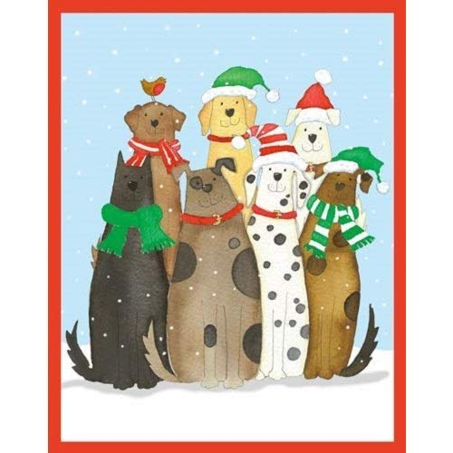 Dogs in Snow - Christmas Card Box - 16 Cards (3.75