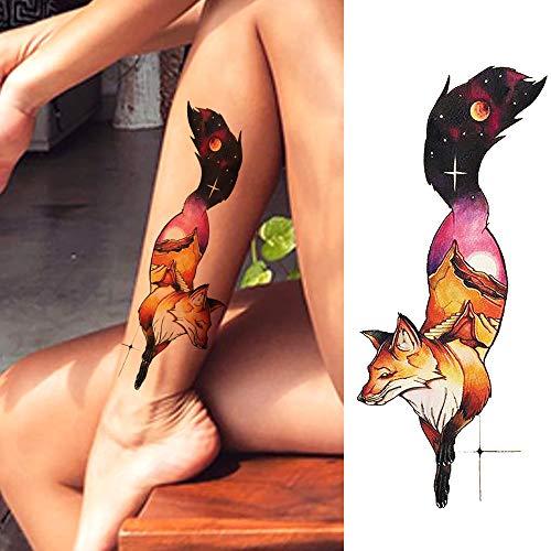 LAROI 10 Hojas Acuarela Zorro Tatuajes Temporales Para Mujer Color ...
