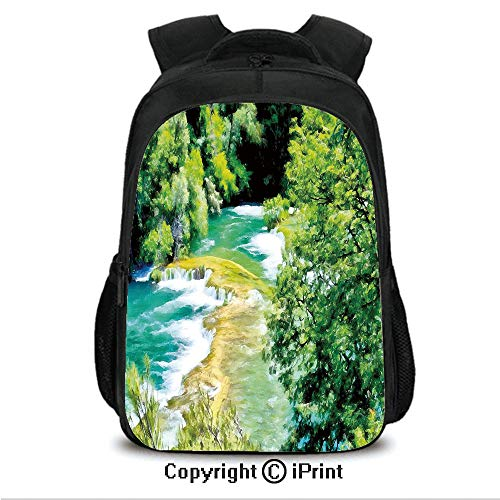 "16"" Travel Backpack Bookbags,Exquisite Jungle with Waterfall Foliage Lake Magic Forest Dreamy Eco Image CollegeTravel Computer Notebooks Backpack for Teen Men Women Lime and Fern Green"
