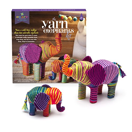 519rBrubE1L - Craft-tastic – Yarn Elephants Kit – Craft Kit Makes 2 Yarn-Wrapped Elephants