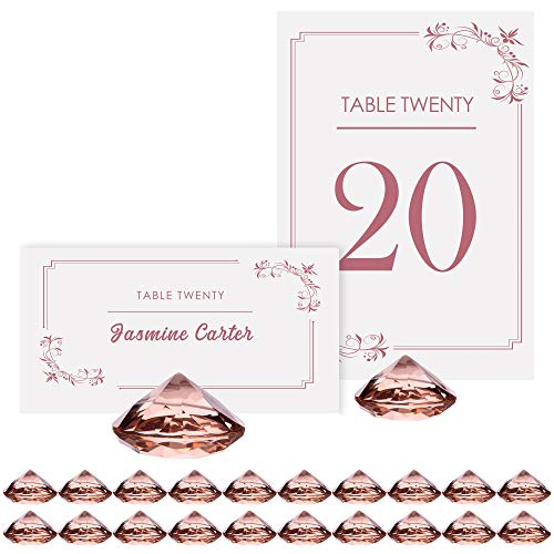 (ROSE GOLD Diamond Table Number Holder & Place Card Holders [20 Pack] Sturdy Acrylic Table Card Stands for Party & Wedding Table Decorations)