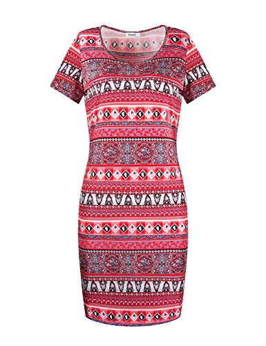 (Elemevol Straight Dress, Womens Short Sleeve Scoop Neck Slim Fitted Wiggle Bodycon Sheath Dress,Red L)