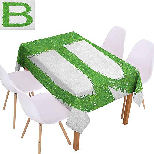Stain-Resistant Tablecloth Letter B Kids Baby Boys Children Capital B Name Fresh Growth Environment Ecology Concept Excellent Durability W40 xL60 Green White