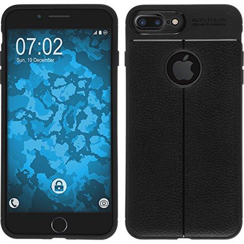 PhoneNatic Case für Apple iPhone 8 Plus Hülle Silikon schwarz Lederoptik Cover iPhone 8 Plus Tasche Case