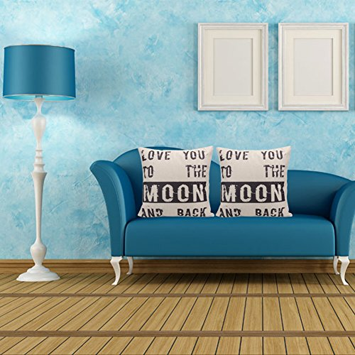43cm Square Pillow Cushion Cover Letter Print Linen Pillowcase (Pattern 3) - 1