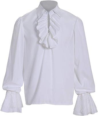 COUCOU Age Camisa Medieval Hombre Camisa de Pirata Disfraz Blusa Cuello: Amazon.es: Ropa y accesorios