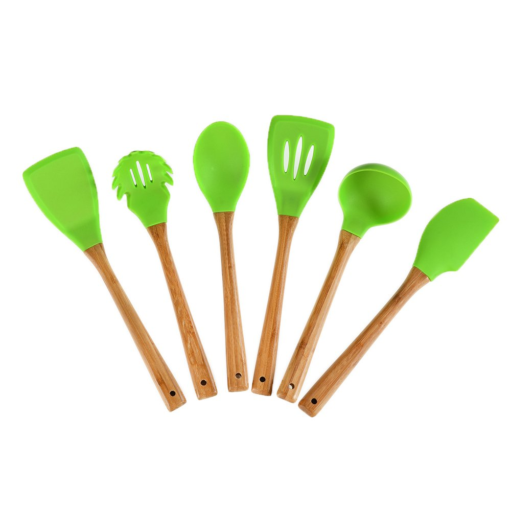 VCCUCINE 6 Pieces Green Environmental Protection Silicone Cooking Utensil Set, with Natural Acacia Hard Bamboo Handle