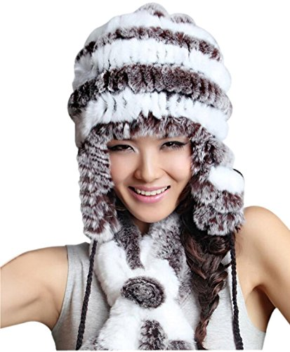 Women's Rex Rabbit Fur Hats Winter Ear Cap Flexible Multicolor (White)