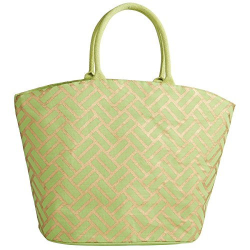 Mud Pie 8613283GR Shimmer Juco Tote Bag Lime Green,Lime weave