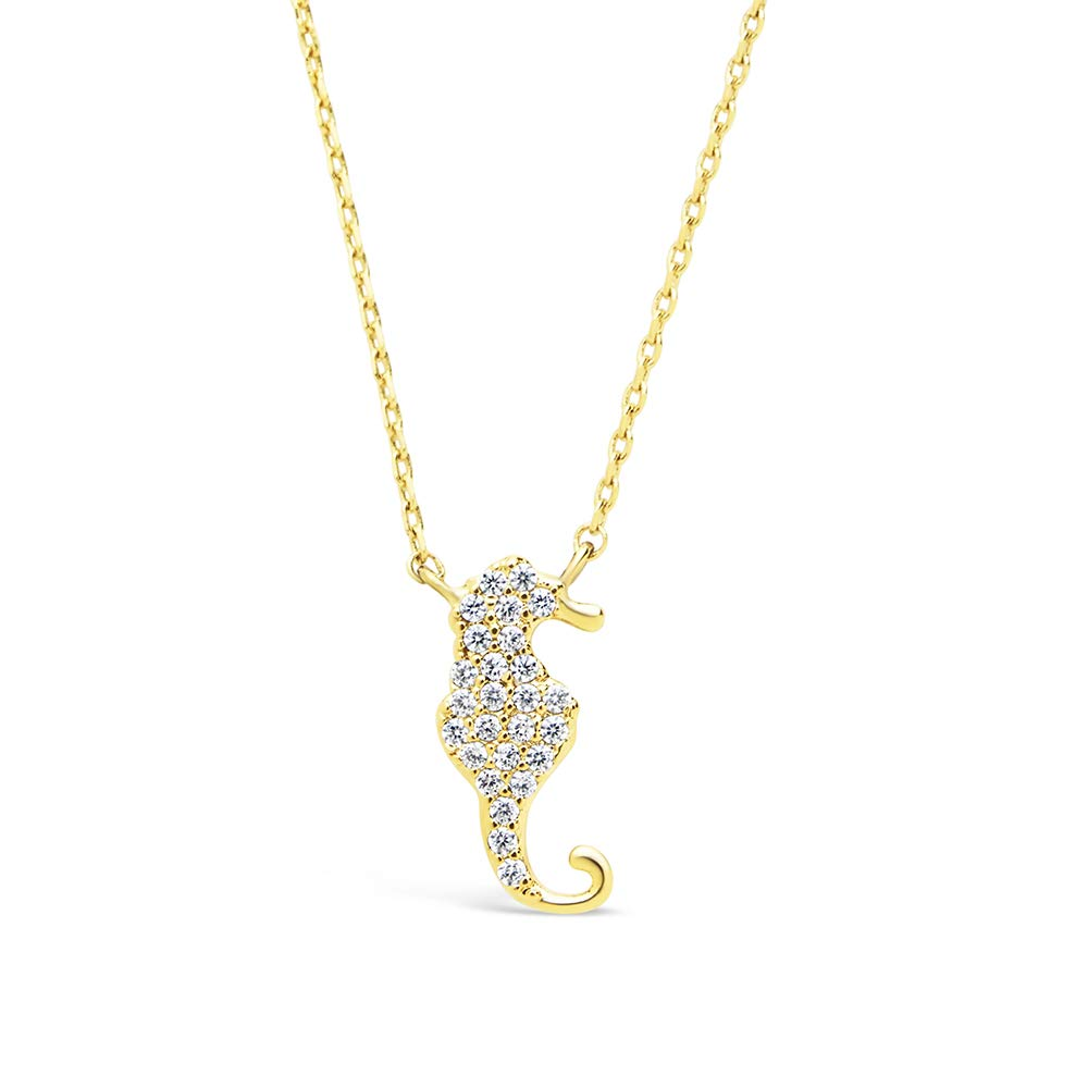 CZ Seahorse Pendant Necklace Sterling Forever