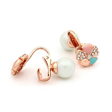 Kemstone Rose Gold Plated Simulated Pearl Cubic Zirconia Clip-on Double Side Earrings 6taNf