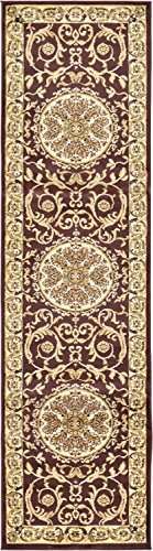 Unique Loom Versailles Collection Traditional Classic Brown Runner Rug (3' x 10') ()